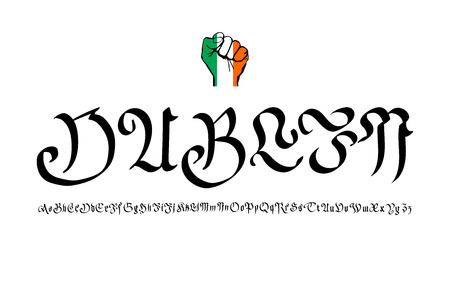 irish cities: Retro Typography, Vintage Travel Greeting label on blurry background Greetings from Dublin, Ireland, Vector design. art