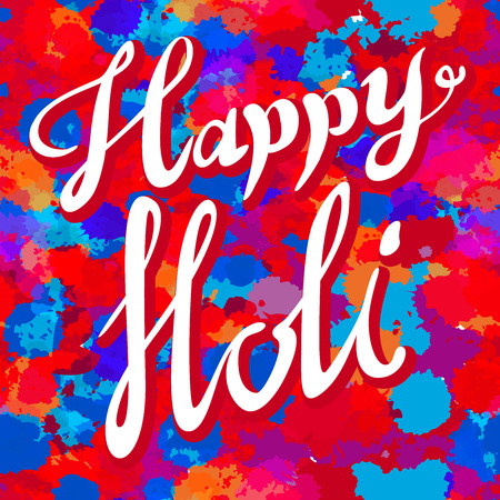 colors paint: Happy Holi spring festival of colors greeting vector background with realistic volumetric colorful Holi powder paint clouds and sample text. Blue, yellow, pink and violet powder paint art