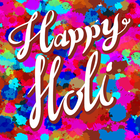 spring festival: Happy Holi spring festival of colors greeting vector background with realistic volumetric colorful Holi powder paint clouds and sample text. Blue, yellow, pink and violet powder paint art