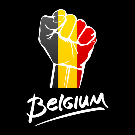 Fist of Belgium flag painted, multi purpose concept - isolated on white background. lettering hand-written Belgium. art