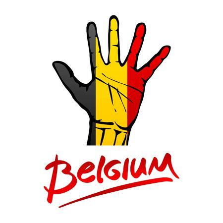 hi five: Open hand painted Belgium flag painted. lettering hand-written Belgium red. art