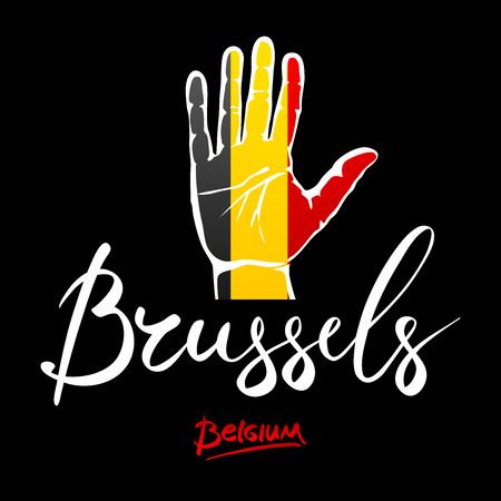 hi five: Open hand painted Belgium flag painted. lettering hand-written Belgium. Brusselse. art