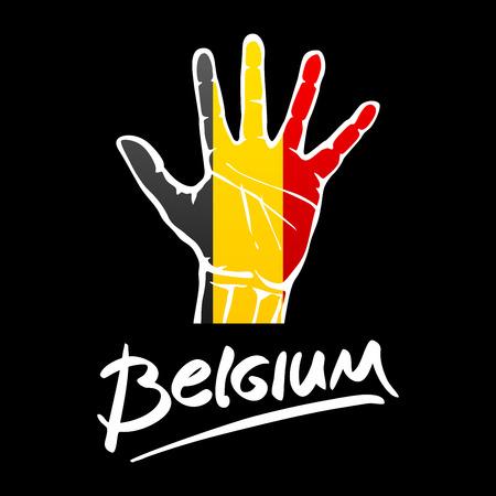 hi five: Open hand painted Belgium flag painted. lettering hand-written Belgium. art