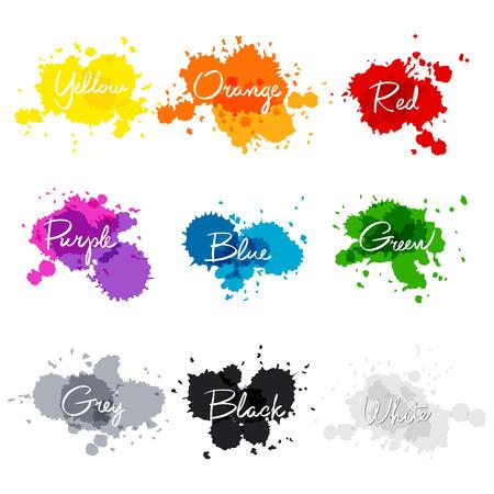 die Namen der Farben unterzeichnet. bunte Aquarelltropfen. handgeschriebenen Namen der Farbe gelb, orange, rot, violett, blau, grün, grau, schwarz, weiß. Kunst Vektorgrafik