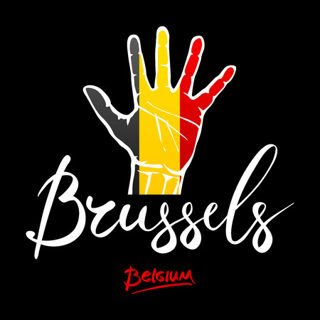 hi five: Open hand painted Belgium flag painted. lettering hand-written Belgium, Brusselse. art Illustration