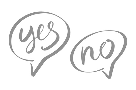 maybe: Yes No speech bubbles vector lettering art Illustration