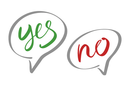 yes no: Yes No speech bubbles vector lettering art Illustration