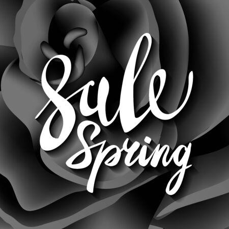 rosas negras: bastante flores rosas negras. arte del texto de la venta de primavera Vectores