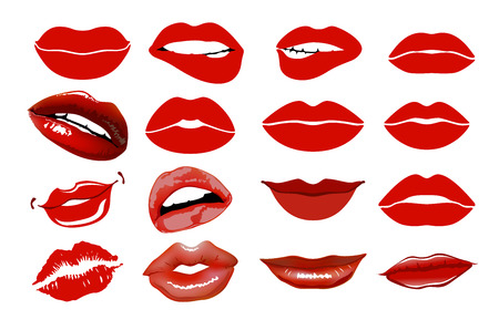 sexual health: Set of 16 glamour lips, with vinous lipstick colors. collage, lips. Illustration