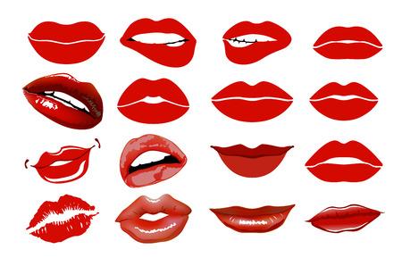 vinous: Set of 16 glamour lips, with vinous lipstick colors. collage, lips. Illustration