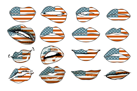 sensuality: Flags of the USA in sensuality lips set women vector. america art