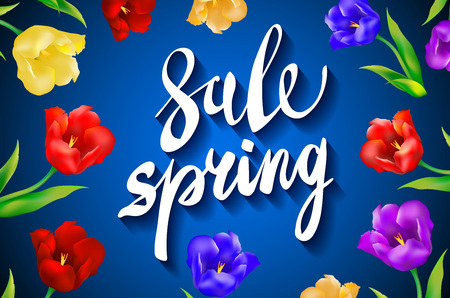 article marketing: Spring sale Background with tulips and daisies EPS 10 vector royalty free stock illustration for greeting card, ad, promotion, poster, flier, blog, article, social media, marketing art