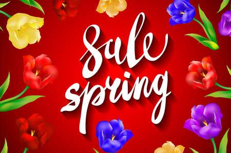 venta de primavera, ofrece sorprendente mensaje en un fondo rojo del arte
