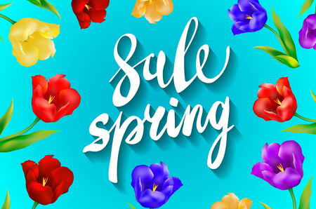 Spring sale Background with tulips and daisies EPS 10 vector royalty free stock illustration for greeting card, ad, promotion, poster, flier, blog, article, social media, marketing art
