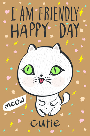 cutie: i am  friendly happy day cutie meow cat illustration vector art