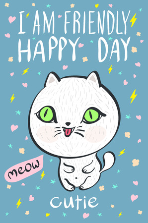 meow: i am  friendly happy day cutie meow cat illustration vector art