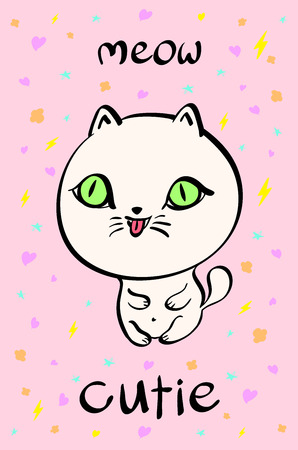 anime young: Cutie cat illustration for t-shirt or other uses,in vector. art Illustration