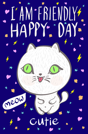 fashion story: i am  friendly happy day cutie meow cat illustration vector art