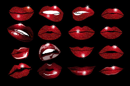Set of 16 glamour lips, with vinous lipstick colors. Vector illustration. element. Woman's lip gestures set. Girl mouths close up with red lipstick makeup expressing different emotions.  vector. art