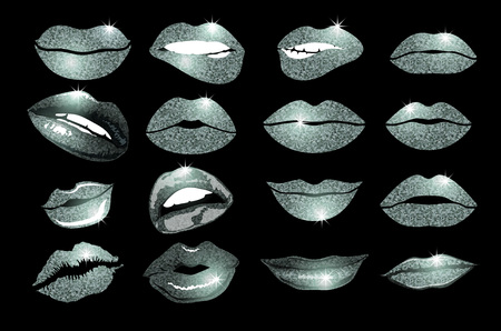 lips close up: Set of 16 glamour lips, with silver lipstick colors. Vector illustration. element. Womans lip gestures set. Girl mouths close up with lips lipstick makeup expressing different emotions.  vector. art