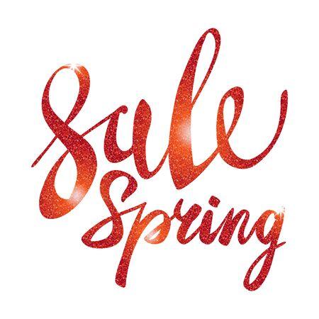 glitz: Spring Sale. red inscription paint. glitz, glamor, light, shine, discounts, art Illustration