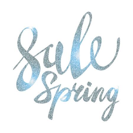 glitz: Spring Sale. silver inscription paint. glitz, glamor, light, shine, discounts, art Illustration