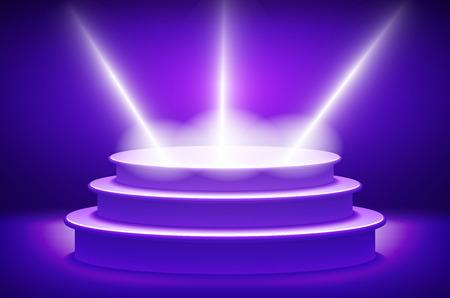 award ceremony: violet Illuminated stage podium for award ceremony vector illustration art