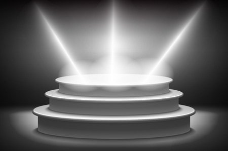 lambent: Stage for awards ceremony. Black podium. Pedestal. Scene. Spotlight. 3D vector. Vector illustration. art