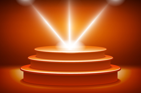 award ceremony: orange Illuminated stage podium for award ceremony vector illustration art Illustration