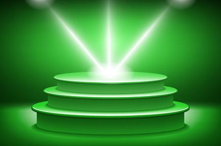 award ceremony: green Illuminated stage podium for award ceremony vector illustration art Illustration