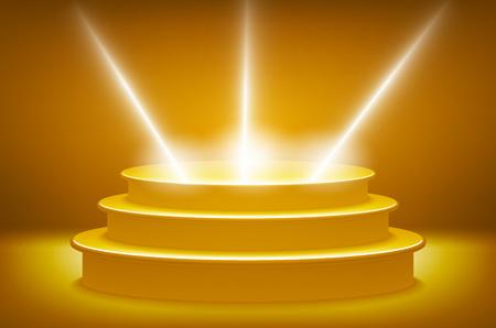 award ceremony: Illuminated stage podium for award ceremony vector illustration. Golden podium in the form of hexagonal floodlighting art