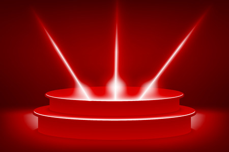 drape: theatrical background.scene and red curtains.red podium on a background of red drape curtains.vector art