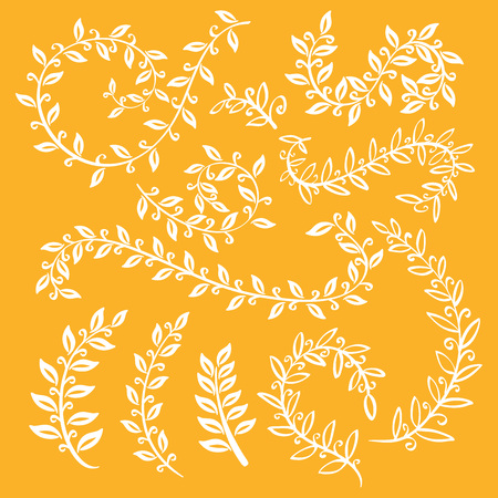 laurel leaf: Autumn leaf set. Set wreaths and laurel. Hand painted orange branches, leaves, leaf, petal decor elements. For design template, invitation. Hand sketched brushes texture. Nature, organic items. Vector art