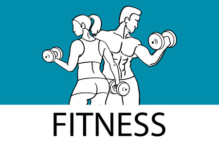 muscled: Fitness with muscled man and woman silhouettes. Man and woman holds dumbbells. Vector illustration art