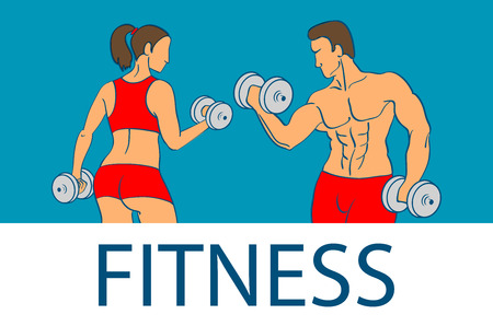 Fitness with muscled man and woman silhouettes. Man and woman holds dumbbells. Vector illustration art
