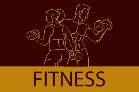 Gimnasio con siluetas de hombre y mujer musculosos. El hombre y la mujer lleva a cabo pesas. Ilustración del vector arte