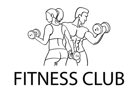 sportsmen: Man and woman Fitness template. Gym club logotype. Sport Fitness club creative concept. Bodybuilder and woman Fitness Model Illustration, Sign, Symbol, badge. art