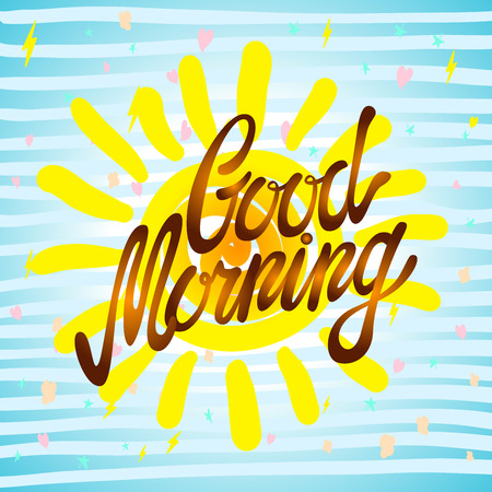 wake up happy: Good morning calligraphic inscription and hand-drawn yellow sun on a white background with texture, illustration is suitable for any use art