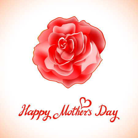 season s greeting: Happy Mothers Day Beautiful Blooming Red Rose Flowers on White Background. Greeting Card art