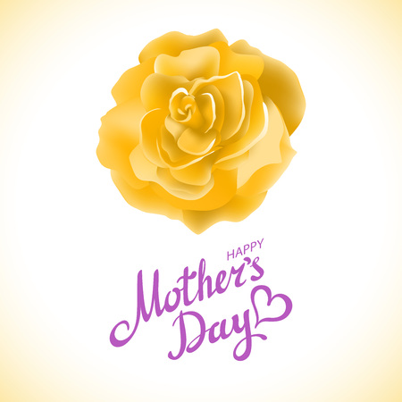 yellow rose: Mothers day design over yellow rose background, vector illustration art
