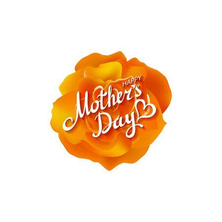 orange rose: Orange rose. Happy Mothers Day Beautiful Blooming orange Rose Flowers. EPS 10 vector. art Illustration