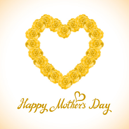 yellow rose: bouquet of orange roses heart isolated on white background. yellow rose mother Day Heart Made of orange Roses Isolated on White Background. Floral heart shape vector background art