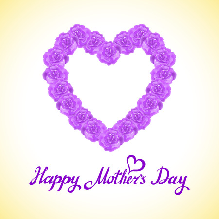 marriage bed: mother Day Heart Made of violet Roses.  bouquet of violet roses heart isolated on white background. pink rose mother Day Heart Made of violet Roses Isolated on White Background. Floral heart shape vector background art Illustration