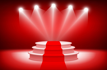 drape: 3d theatrical background.scene and red curtains. red podium on a background of red drape curtains. vector art