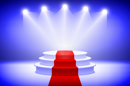 stage lights: d3 Illustration of Photorealistic Winner Podium Stage with Blue Stage Lights Background. Used for Product Placement, Presentations, Contest Stage. art Illustration