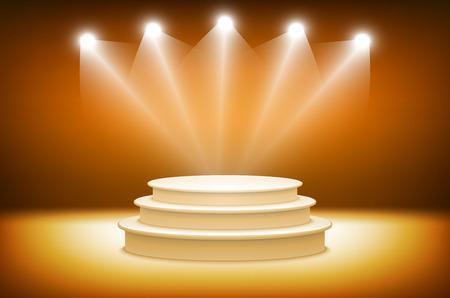 award ceremony: 3d orange Illuminated stage podium for award ceremony illustration art Illustration