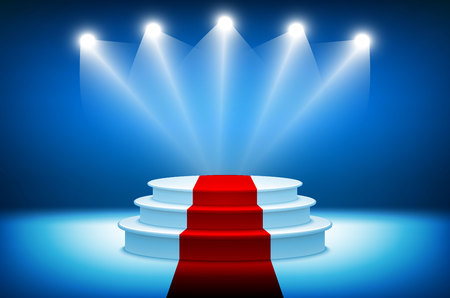 stage lights: 3d Illustration of Photorealistic Winner Podium Stage with Blue Stage Lights Background. Used for Product Placement, Presentations, Contest Stage. art