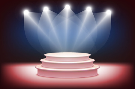 stage lights: 3d Illustration of Photorealistic  Podium Stage with Blue Stage Lights Background. Used for Product Placement, Presentations, Contest Stage. Blue stage light background art Illustration