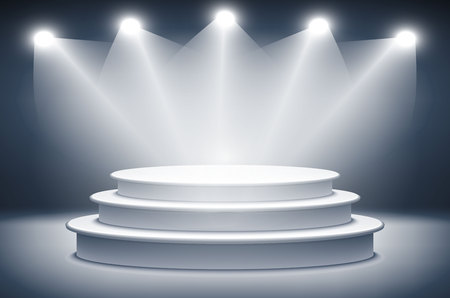 award ceremony: Illuminated stage podium for award ceremony vector illustration art