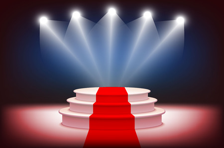award ceremony: 3d Illuminated stage podium with red carpet for award ceremony vector illustration art